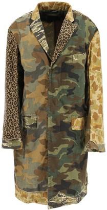 R 13 Camouflage Print Patchwork Coat