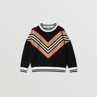 Burberry Icon Stripe Panel Wool Blend Sweater