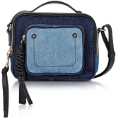 See by Chloe Patti Denim and Black Leather Crossbody Bag