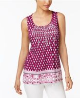 Charter Club Printed Embroidered Top, Only at Macy's