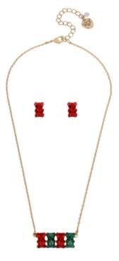 "Betsey Johnson Festive Gummy Bear Necklace Stud Earrings Set, 17"" + 3"" extender"