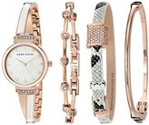 Anne Klein Women's AK/2342RWST Swarovski Crystal Accented Rose Gold-Tone and White Bangle Watch and Bracelet Set