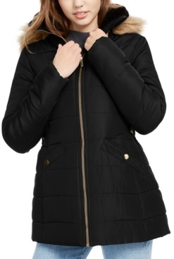 Celebrity Pink Juniors' Faux-Fur Trim Hooded Puffer Coat