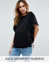 ASOS Maternity - Nursing ASOS Maternity NURSING T-Shirt with Flutter Sleeve and Tie Sides