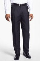 Santorelli Men's 'Luxury Serge' Double Pleated Wool Trousers