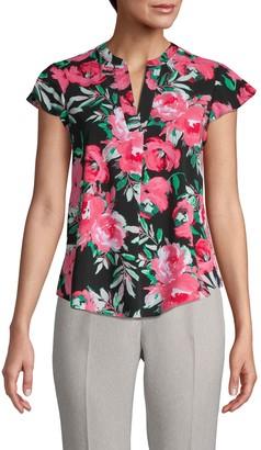 Calvin Klein Collection Floral Flutter-Sleeve Top