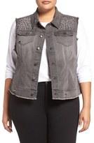 Melissa McCarthy Plus Size Women's Studded Denim Vest