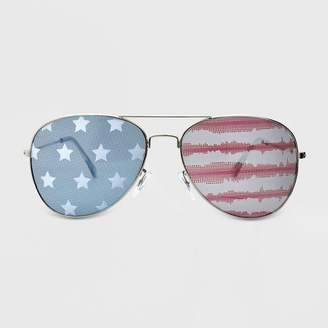 Americana Wild Fable Women's Striped Aviator Silver Stars and Tie Dye Stripes Sunglasses - Wild Fable