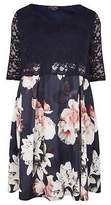 Yours Clothing Womens Yours London & Multi Floral Print Lace Overlay Midi Dress, Plus Size 16 T