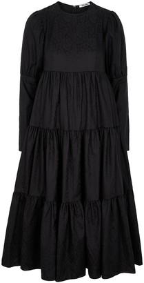 Batsheva Gail black floral-jacquard midi dress