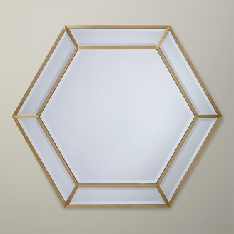 John Lewis & Partners Deco Hexagon Mirror, 103 x 89cm, Gold