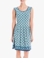 Max Studio Sleeveless Mini Printed Jersey Dress, Navy/Sage
