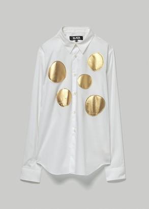 Comme des Garcons BLACK Men's Cotton/Taffeta Dots Shirt in White/Gold Size Large