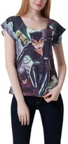 Lady Queen Women's Catwoman Printed Cap Sleeve T-shirt Casual Tee S