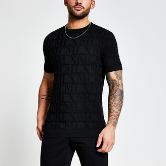 River Island MCMLX black embossed knitted T-shirt