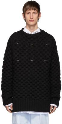 Raf Simons Black Wool Piercing Honey Stitch Sweater