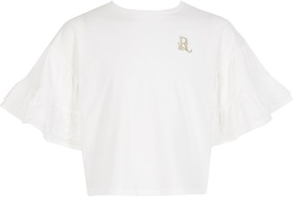 River Island Girls White broderie frill cropped T-shirt