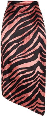 Mason by Michelle Mason Asymmetric Printed Velvet Skirt