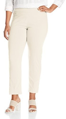 Slim Sation SLIM-SATION Women's Plus-Size Wide Band Pull On Ankle Pant with Tummy Control