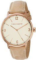 Vince Camuto Women's VC/5306RGTN Rose Gold-Tone and Tan Suede Leather Strap Watch