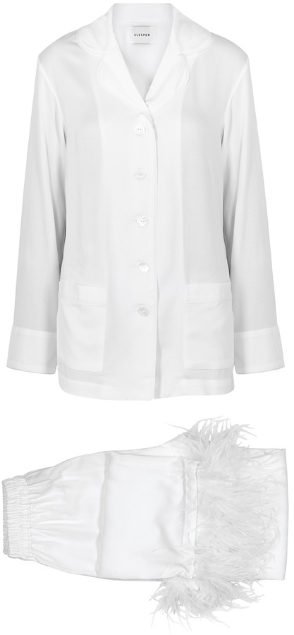 Sleeper Party White Feather-trimmed Pyjamas