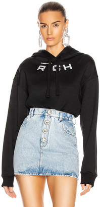 Alessandra Rich Crop Logo Hoodie in Black | FWRD