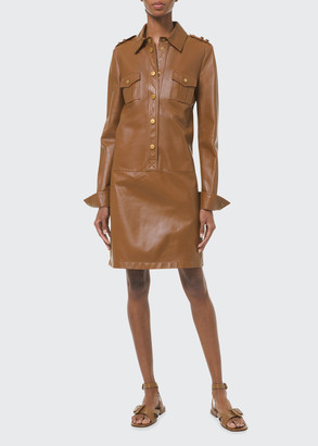 Michael Kors Collection Leather Drop-Waist Shirtdress