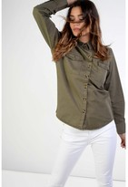 Womens Khaki Military Shirt - ShopStyle UK
