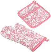DII 100% Cotton, Machine Washable, Everyday Kitchen Basic, Damask Printed Oven Mitt and Pot Holder Gift Set, Pink