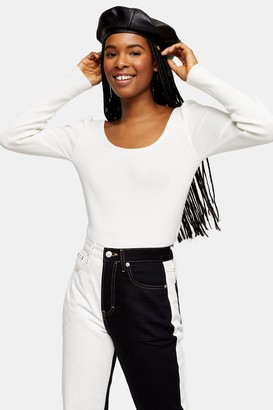 Topshop Ivory Scoop Neck Pleated Knitted Top