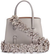 Alaia Grey leather mini tote with studded floral strap