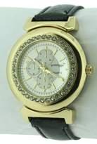 Golddigga Women's Quartz Watch with Gold Dial Analogue Display and Black PU Strap DIG59/B