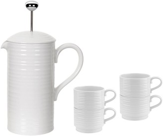 Sophie Conran White Cafetiere & 4 Stacking Cups