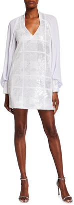 Halpern Check Sequin Blouson-Sleeve Shift Dress