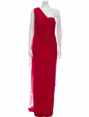 Marchesa One-Shoulder Long Dress Red