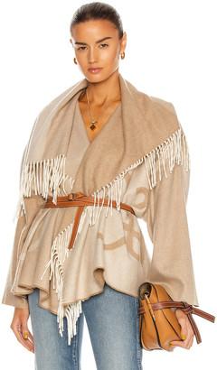 Loewe Anagram Blanket Shawl Jacket in Ecru | FWRD