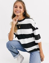 Asos DESIGN oversized t-shirt in super chunky stripe in acid wash