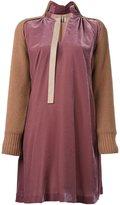 Sacai velvet panelled dress - women - Rayon/Cupro/Wool - II