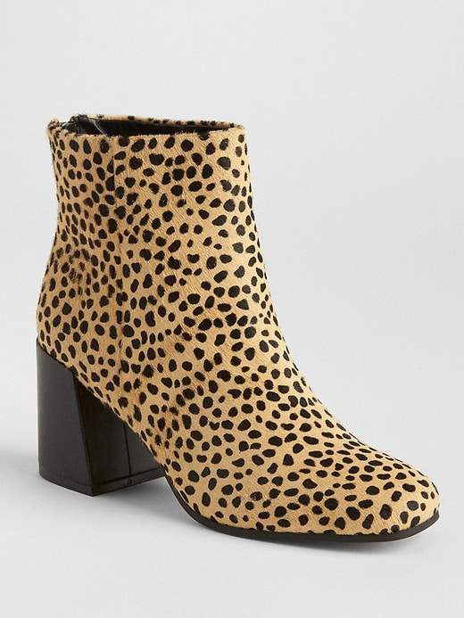 1d1c41c8fba Cheetah Calf Hair Block Heel Boots