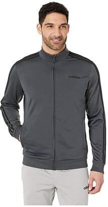 adidas Essentials 3-Stripe Track Jacket (Dark Grey Heather/Solid Grey/Black 1) Men's Coat