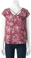 Pink Republic Juniors' Pink Republic Floral Strappy Tee