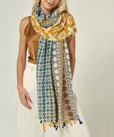 Simmly Women's Accent Scarves Yellow - Yellow & Blue Mandala Tassel-Trim Lightweight Scarf - Women