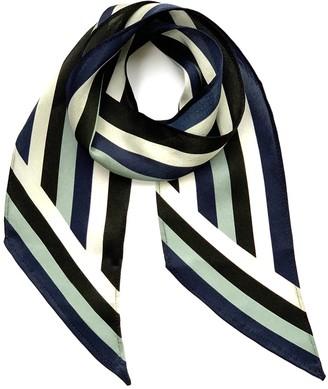 Ingmarson Henley Silk Stripe Neck Scarf Blue