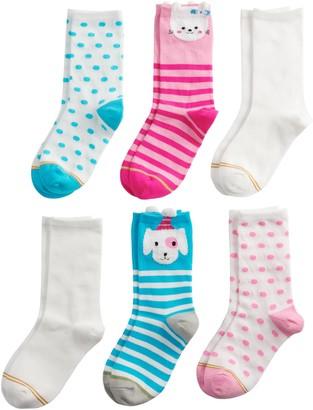 Gold Toe Girls 7-16 GOLDTOE 6-pack Animal Faces Crew Socks