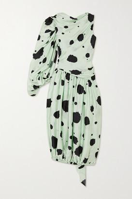 J.W.Anderson One-sleeve Draped Polka-dot Satin-twill Midi Dress - Mint
