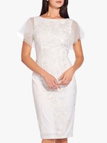 Adrianna Papell Sheer Angel Sleeve Sequin Tailored Dress, Ivory