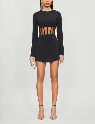 David Koma Corset-detail crepe mini dress