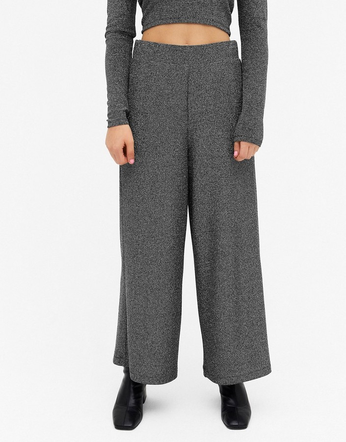 Thumbnail for your product : Monki Cilla glitter ribbed wide leg trousers in black