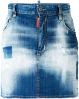 DSQUARED2 light-wash denim skirt - women - Cotton/Calf Leather/Polyester/Spandex/Elastane - 36