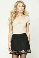 Forever 21 FOREVER 21+ Embroidered Faux Suede Skirt